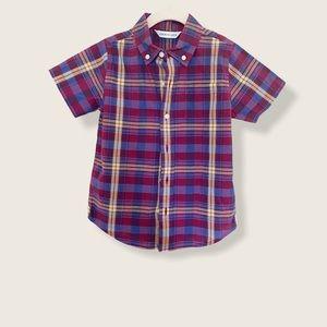 Janie and Jack Short Sleeve Plaid Shirt Boy Size 4
